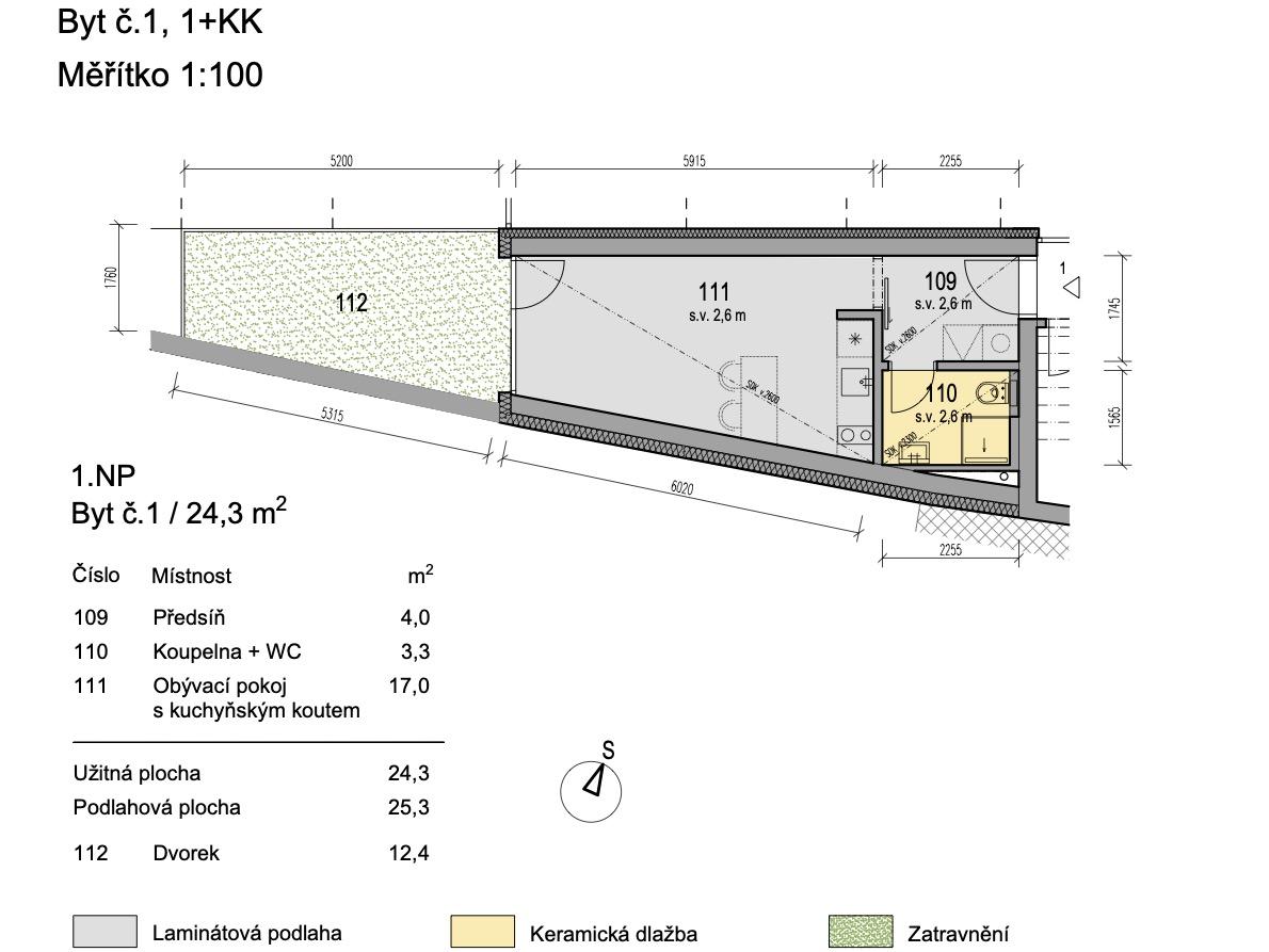 Bytový dům Zlatý potok Šlapanice Brno B1 1